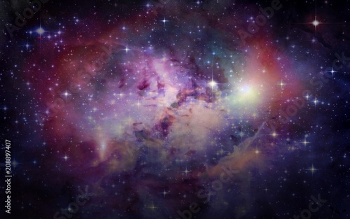 Poster Heelal Planets and galaxies, science fiction wallpaper. Beauty of deep space. Billions of galaxies in the universe Cosmic art background