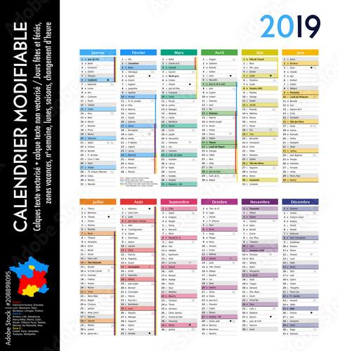 Achat Calendrier 2019.Calendrier 2019 Sur 12 Mois Modifiable Avec Calques Textes
