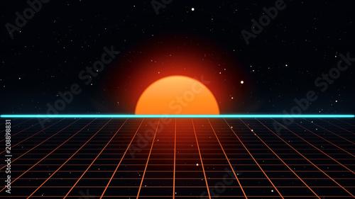Retro futuristic 80s VHS tape video game intro landscape Fototapet
