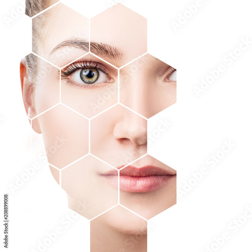 Foto Beautiful female face in honeycombs. Spa concept.