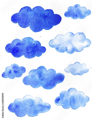 Poster Ciel Hand drawn watercolor sky blue background