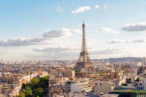 In de dag Barcelona eiffel tour and Paris cityscape