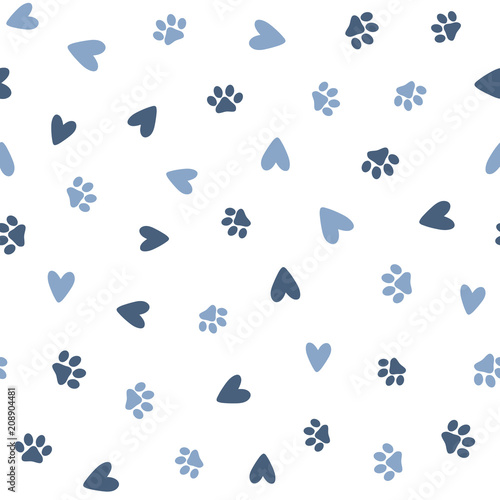 obraz lub plakat Repeated hearts and footprints of pets. Cute seamless pattern for animals.