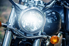 Motorcycle Headlight Close Up,...