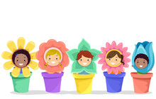 Stickman Kids Flowers Pots Ill...