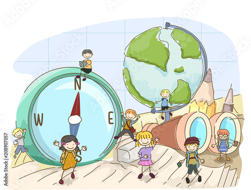 Fotografie, Obraz Stickman Kids Geography Tools Illustration