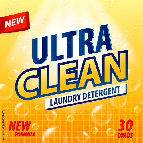 Laundry Detergent Package Vector Concept Design Detergent Powder - Bathroom detergent