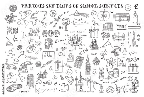 Obraz Various sketches on school subjects. Hand sketches on the theme of Maths and geometry. Vector illustration. Doodle set. - fototapety do salonu