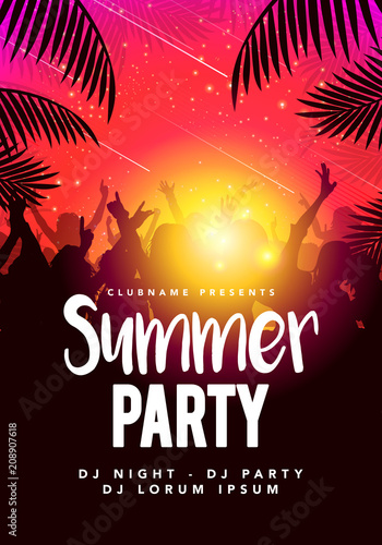 Vector illustration abstract flyer poster design summer beach party template Wall mural