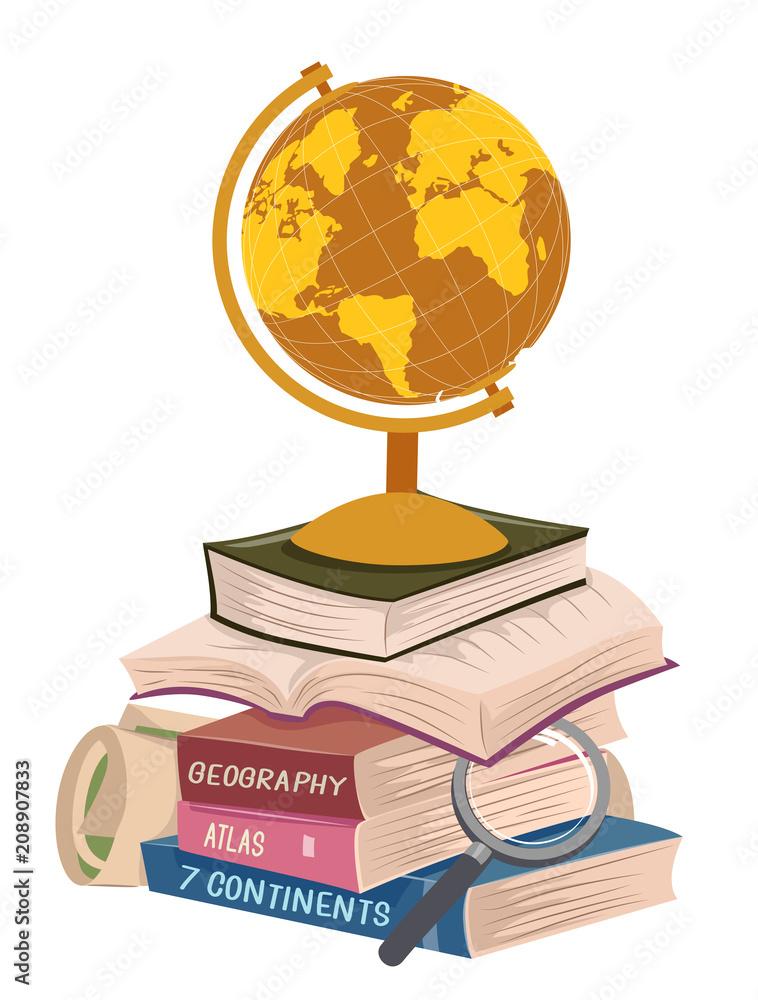 Fototapety, obrazy: Geography Books Stack Long Reading Illustration