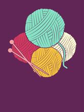 Knitting Thread Needles Illustration