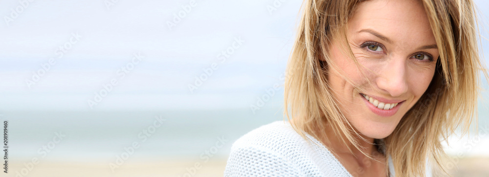 Fototapety, obrazy: Portrait of beautiful 40-year-old blond woman, template