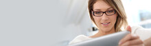 Beautiful Blond Woman At Home Websurfing On Internet, Template