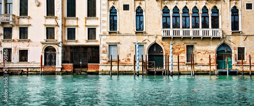 Fotobehang Centraal Europa Panorama of houses and palaces on the grand canal in Venice, Italy