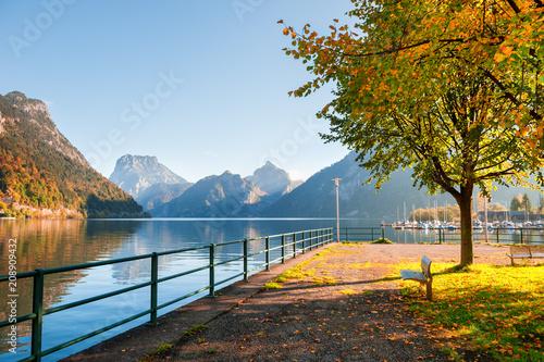 Aluminium Prints Autumn Traunsee lake in Alps mountains, Austria