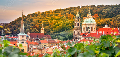 Fotobehang Centraal Europa Vineyard of Prague and St Nicholas church, Czech Republic