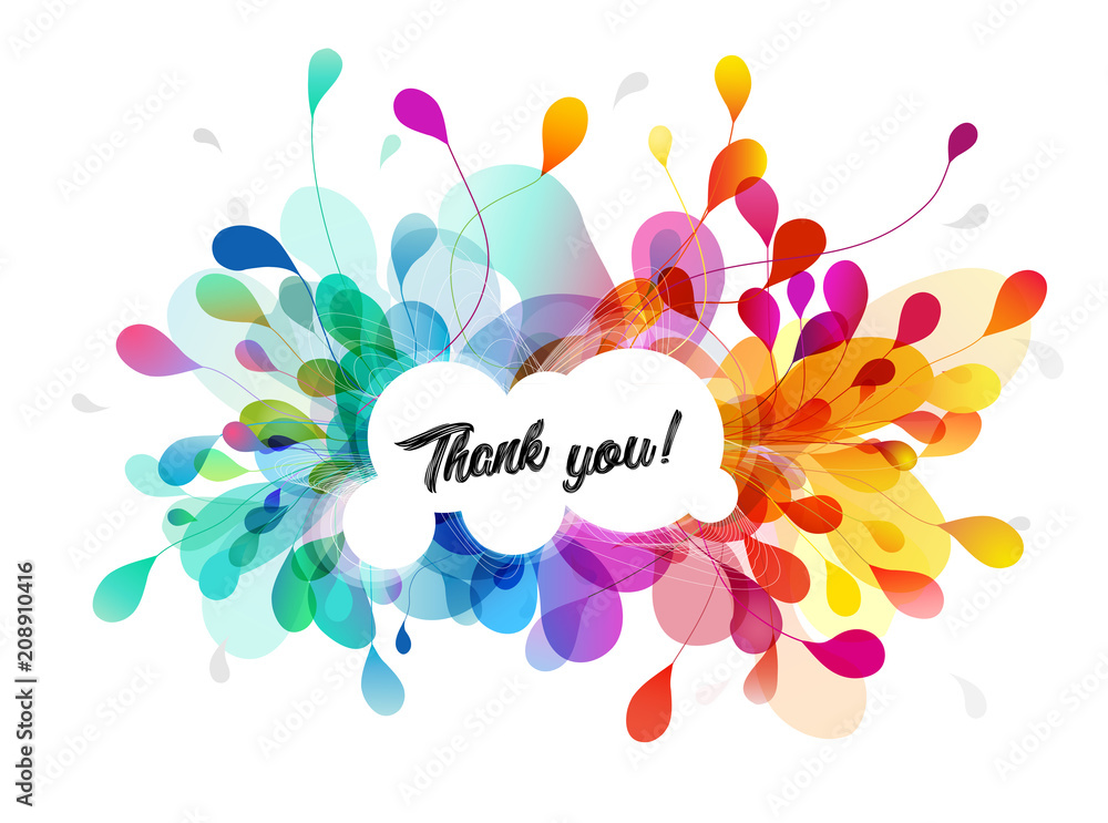 Abstract colored flower background with Thank you text.