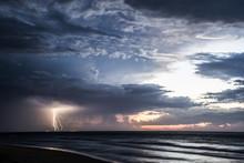 Thunderstorm At Sea, Moreton Island, Queensland, Australia