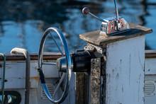 Steering Wheel On An Old Fishing Boat