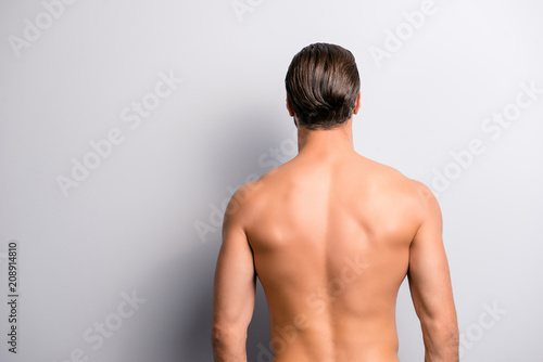 Fotografie, Obraz Rear back behind view photo of strong muscular handsome attractive stunning conf