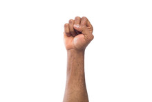 Male Black Fist Isolated On Wh...