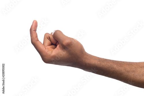 Photo  Black male hand beckoning isolated on white