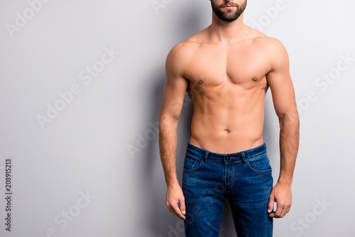 Fotografie, Obraz  Cropped close up photo of handsome attractive ideal perfect stunning strong musc