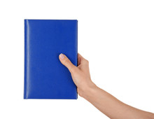 Female Hand Holding Book With Blank Cover On White Background