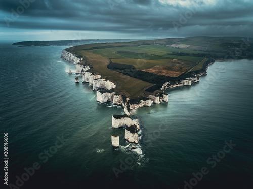 Old Harry Rocks in Dorset - Aerial View Fototapet