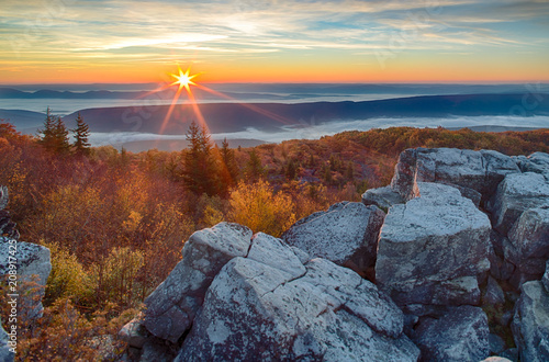 Sunrise in the Allegheny Mountains of West Virginia Wallpaper Mural