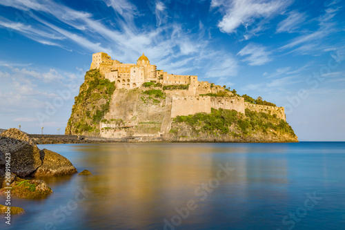 Foto op Canvas Europa Sunset view of Aragonese Castle near Ischia island, Italy