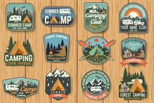 Set Of Summer Camp Badges On T...