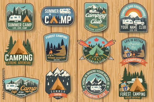 Fotografía Set of Summer camp badges on the wood board. Vector.