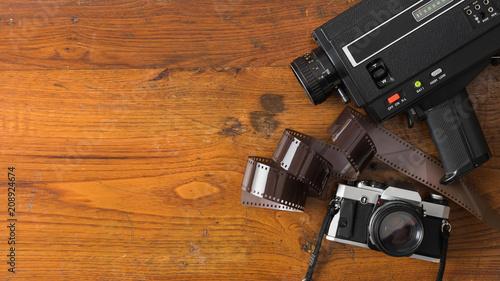 Fotografija  Vintage photo and video instruments on wood