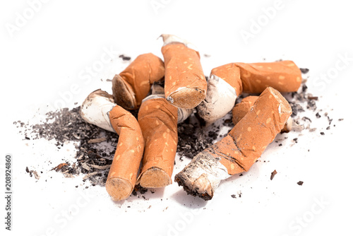 Fotografie, Obraz  pile of cigarette butts and ash isolated on white background