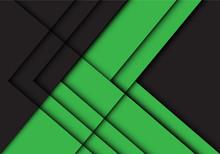 Abstract Green Black Line Arrow Shadow Direction Design Modern Futuristic Background Vector Illustration.