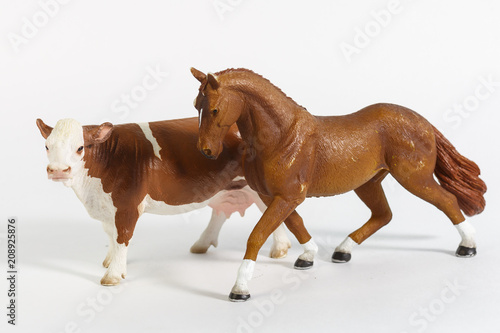 luxury baby rubber horse and cow toys for animal collection on white ...