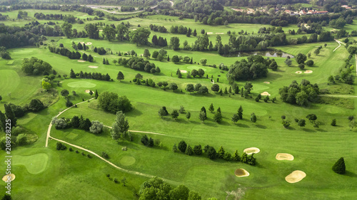 Staande foto Pistache Drone view of a golf course