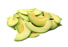 Pieces Of Ripe Avocado On Whit...