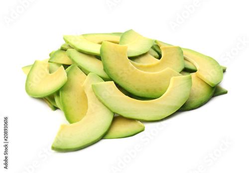 Fotografie, Obraz  Pieces of ripe avocado on white background