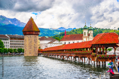 City center with famous Chapel Bridge and lake in Lucerne, Switzerland Poster