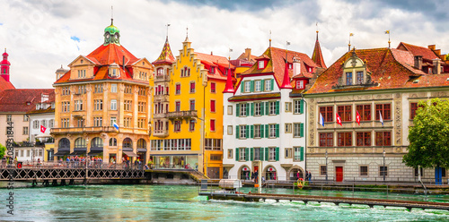 Stampa su Tela Beautiful river cityscape of Lucerne, Switzerland