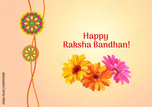 Fotografering  Horizontal template card for Raksha bandhan celebration with decorative Rakhi an