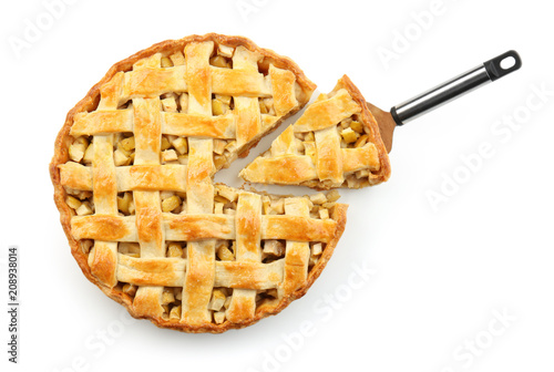 Photo  Tasty homemade apple pie on white background