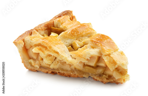 Cuadros en Lienzo Piece of tasty homemade apple pie on white background
