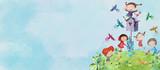 Happy children with birds. Watercolor background