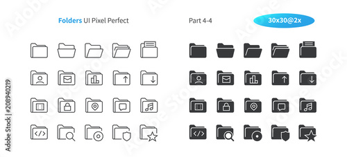 Fotografía  Folders UI Pixel Perfect Well-crafted Vector Thin Line And Solid Icons 30 2x Grid for Web Graphics and Apps