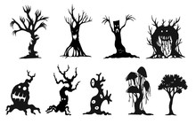 Set Of Halloween Tree By Hand Drawing.Halooween Tree Silhouette On White Background.