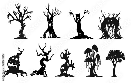 set of halloween tree by hand drawinghalooween tree silhouette on white background
