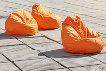 Three Coloroful Orange Beanbag...